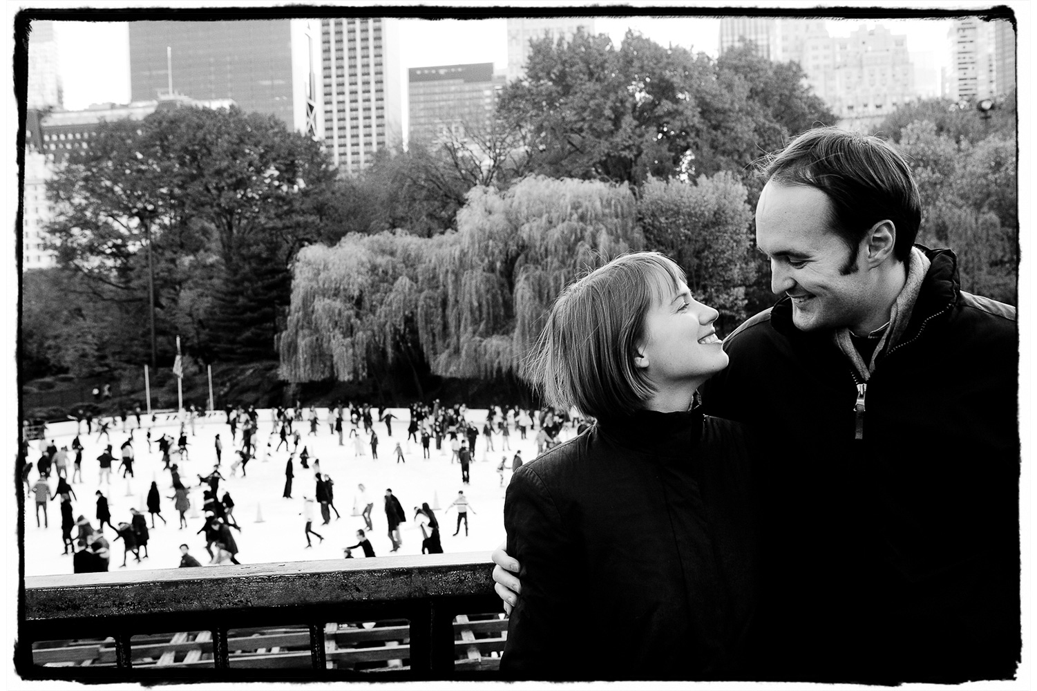 Engagement Portrait: Alicia & Matt enjoy the romantic winter scenes at the skating rink in Central Park.