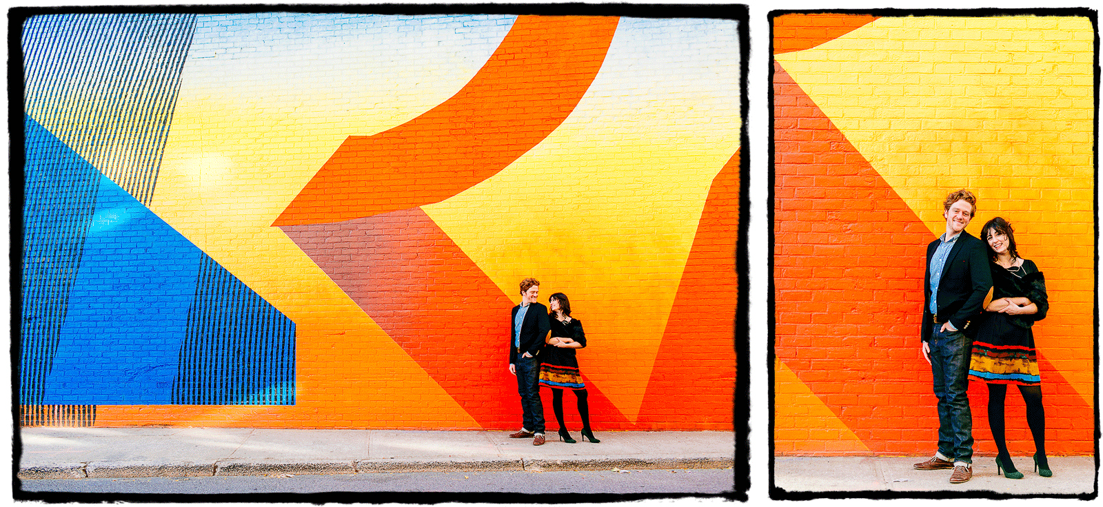 Engagement Portraits: Alli & Parker are shown here with the glorious murals in DUMBO, Brooklyn.