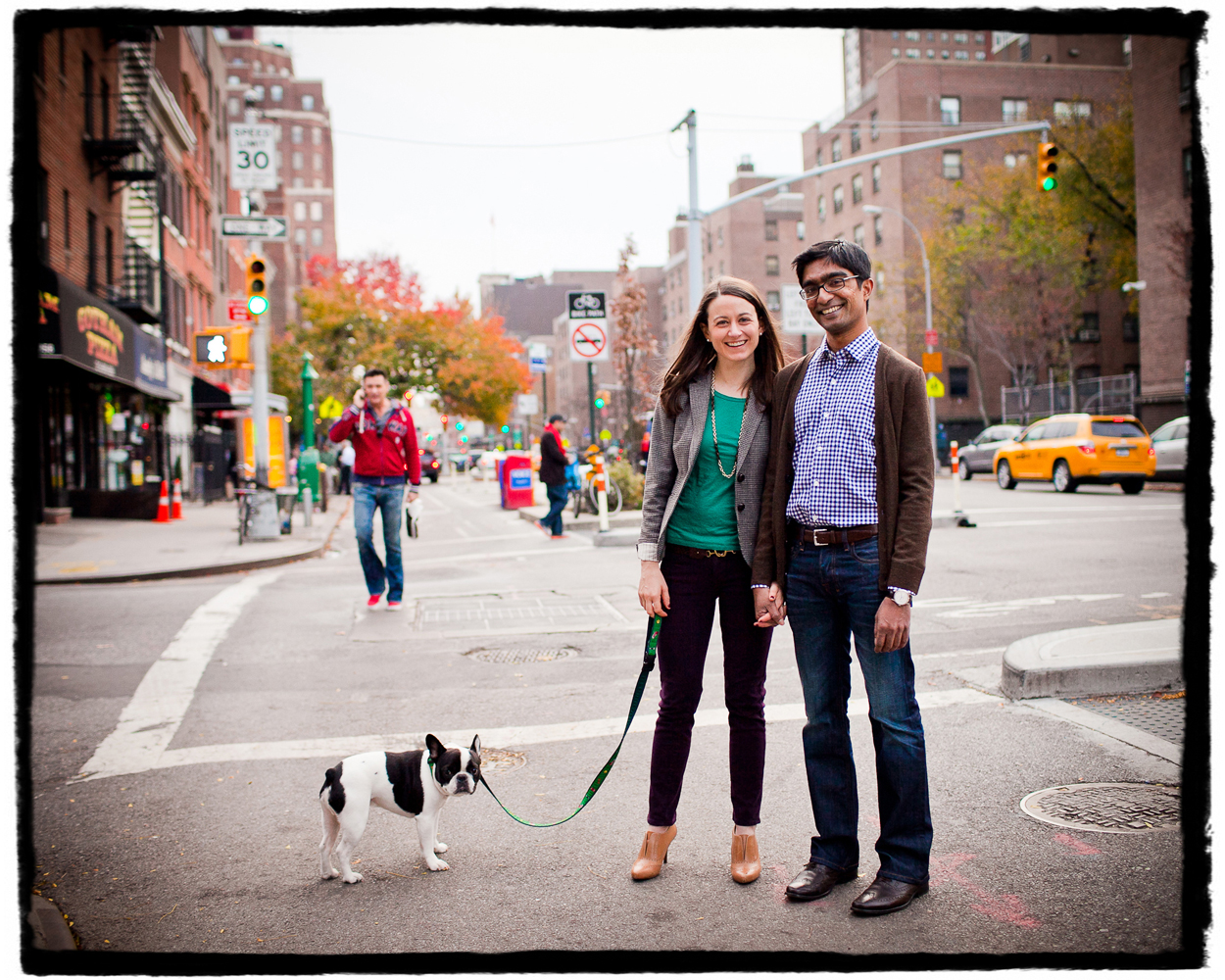 Engagement Portrait: Katie & Sharmilan take their sweet puppy, Wilbur, for a walk around their neighborhood in Chelsea.