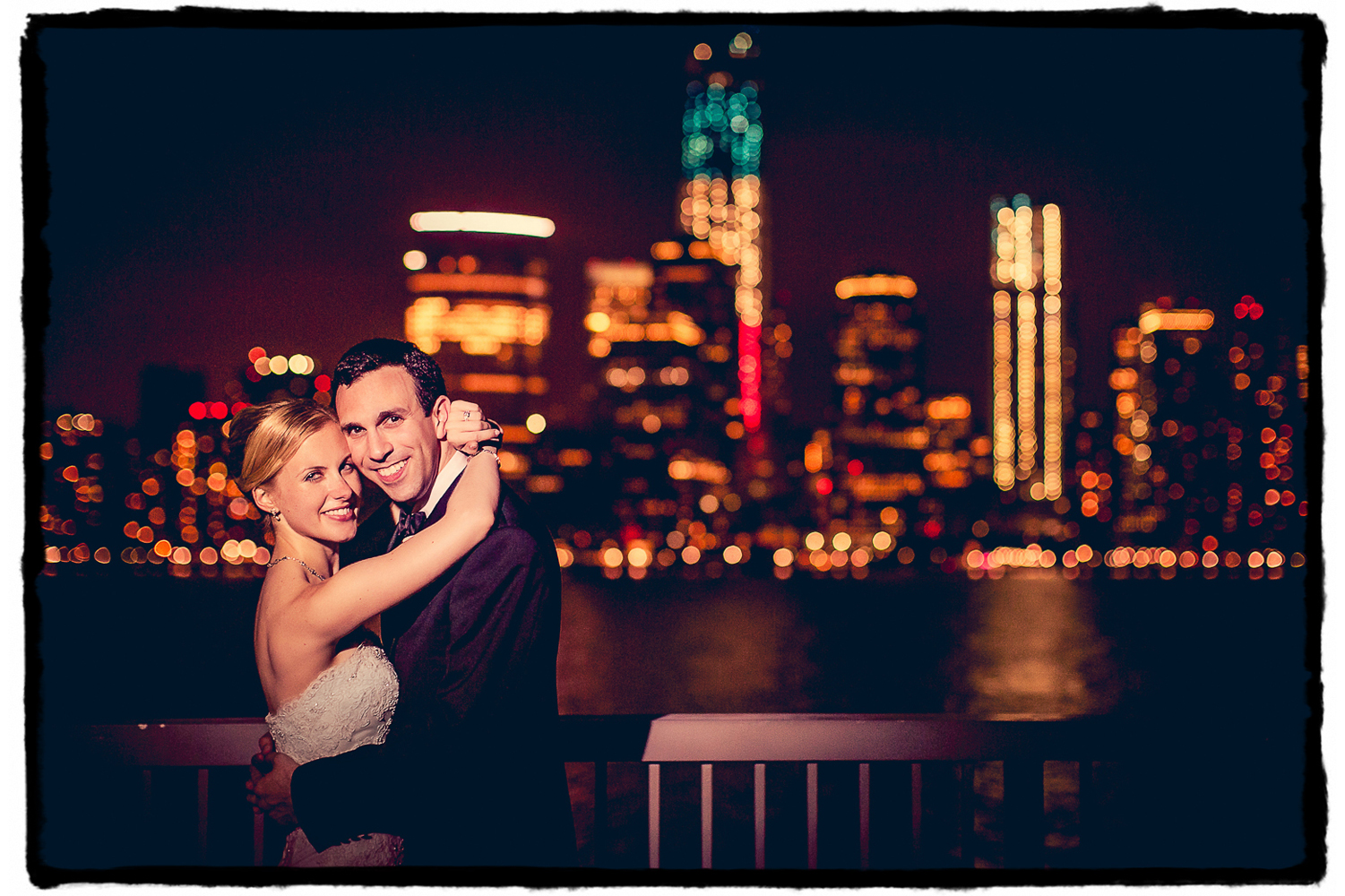 Towards the end of the night I asked Gena and Josh if they'd step outside with me for a picture with the amazing NYC skyline behind them here at the Hyatt in Jersey City.