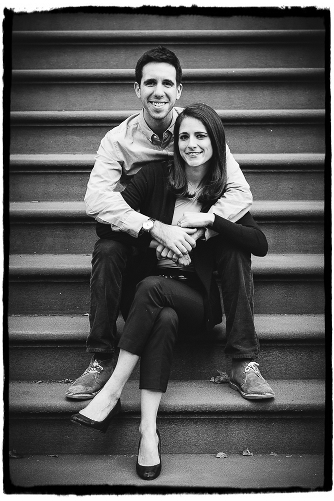 Engagement Portrait: Emily & Adam relax on a brownstone stoop in Fort Greene, Brooklyn.