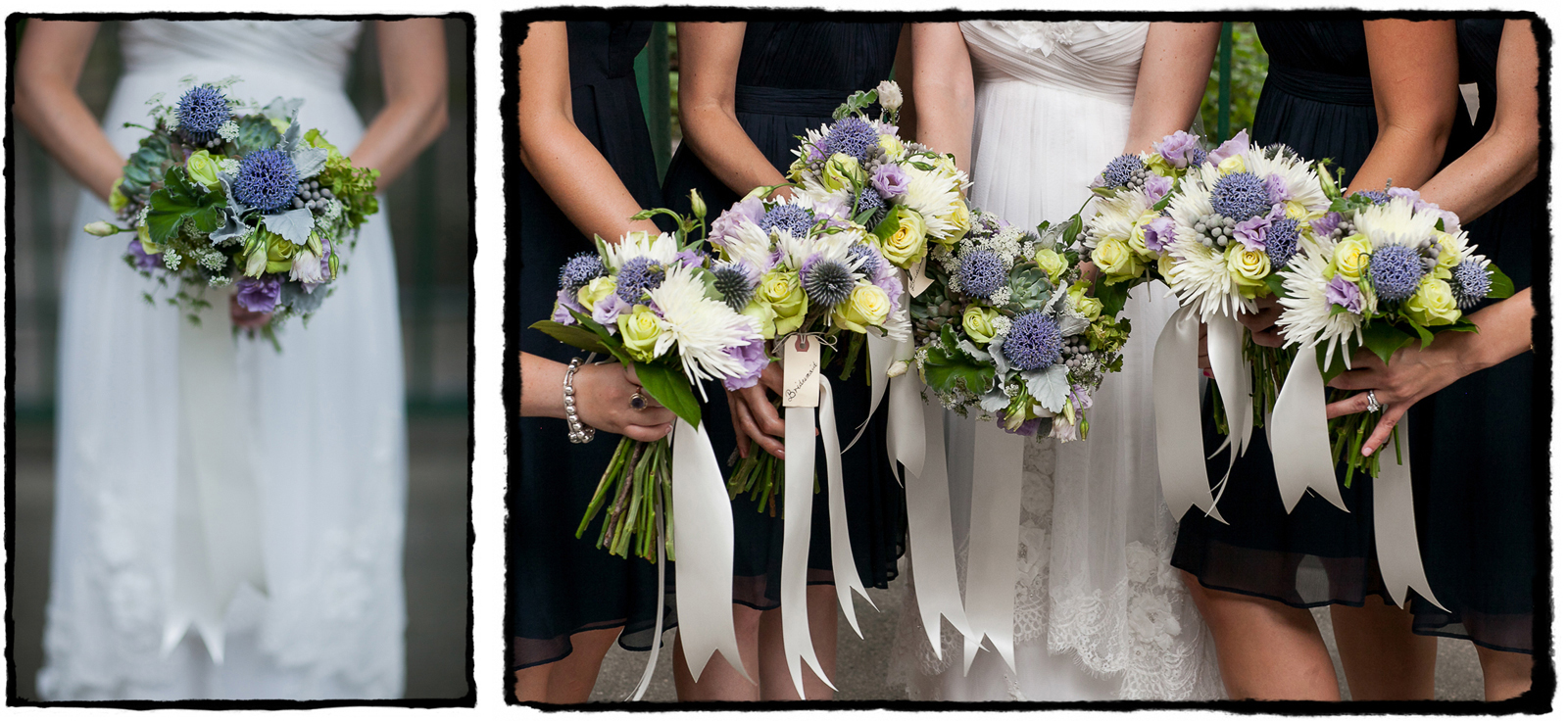 Lauren and her bridesmaids carried bouquets with purple and white flowers for her wedding at Liberty House in Jersey City.