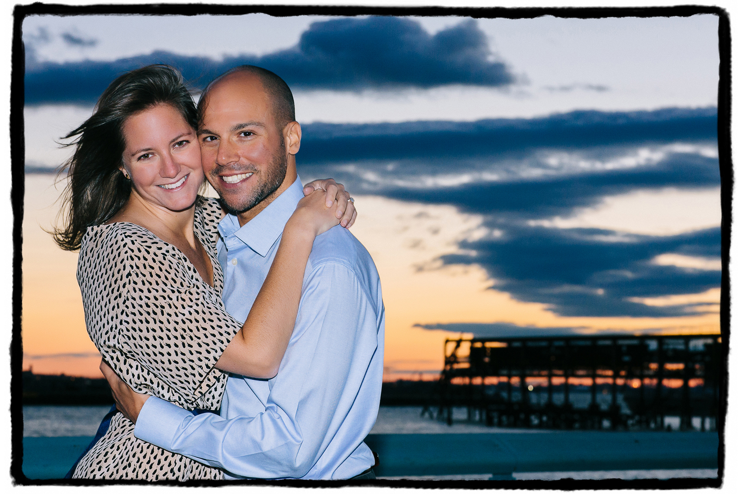 Engagement Portrait: Laura & Joel enjoy the sunset views from the Red Hook waterfront.