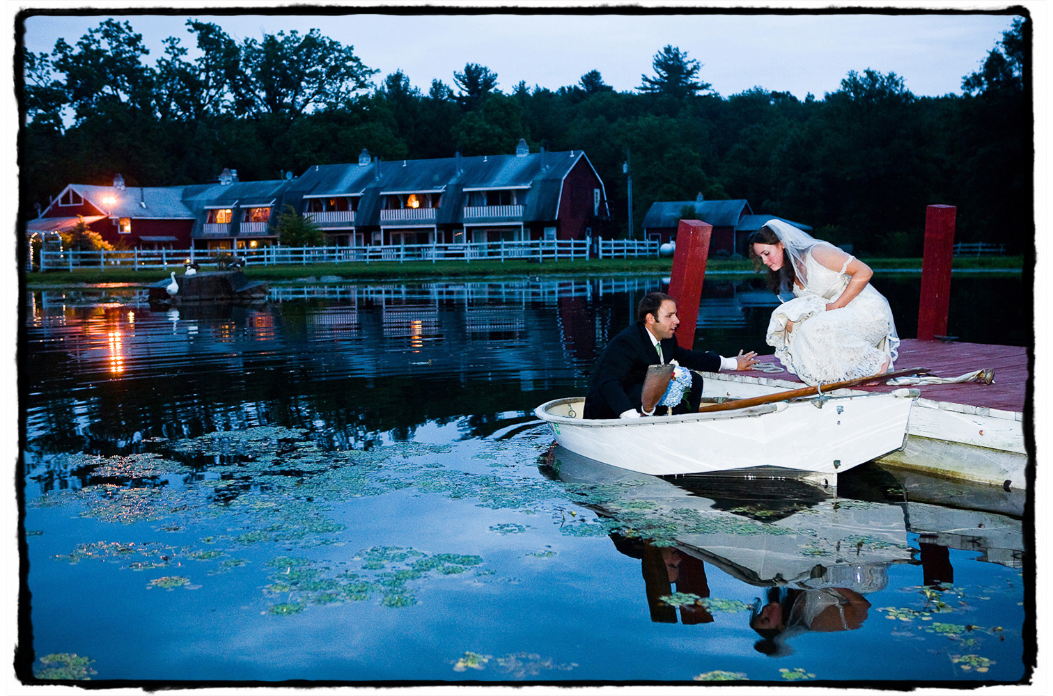 Alicia and Brian were living aboard their sailboat, Sarabande, in New Jersey leading up to the wedding.  Their plan?  To sail around the world after tying the knot.  They brought their ship's dingy to row across the pond at The Kaaterskill between the ceremony and reception!  They have been sailing abroad ever since!