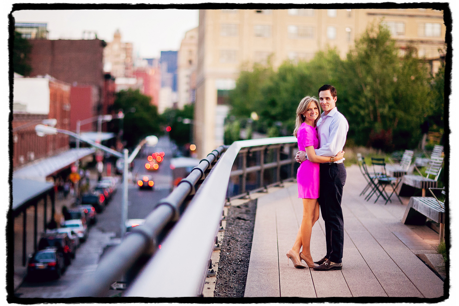 Engagement Portrait: Devin & Mike pose for an extra special photograph up on the High Line.  You can see their building in the distance behind them!