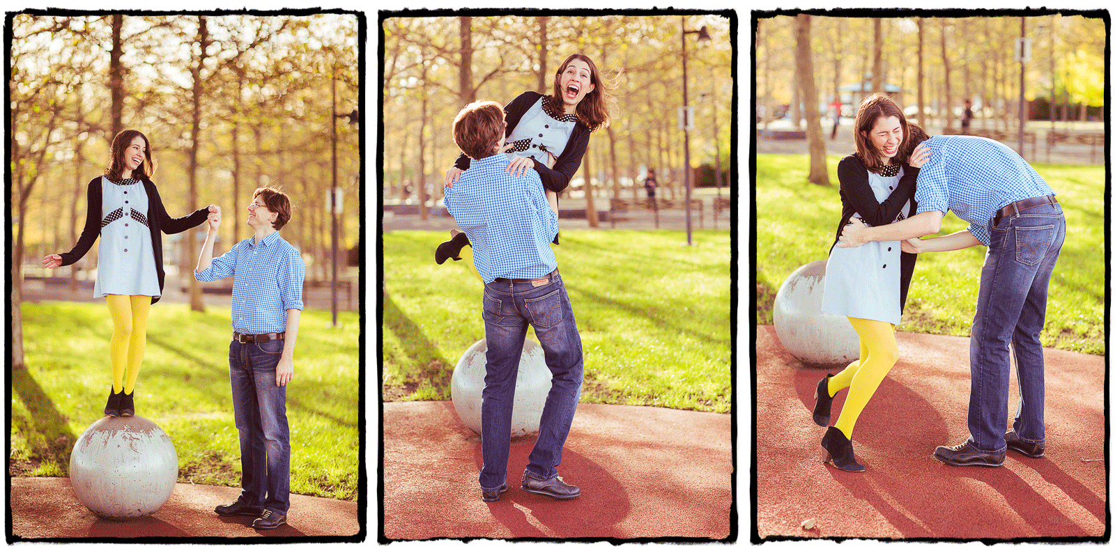 Engagement Portraits: Lauren & Dano goof around in Hoboken, New Jersey.