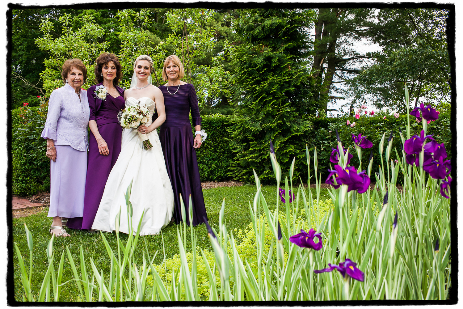 The irises at Frelinghuysen Arboretum were a perfect complement to the dresses worn by this bride's mother, aunt, and grandmother.