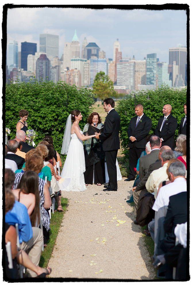 Lauren and Rich's summer ceremony at Liberty House offered guests a view of the NYC skyline from across the Hudson river.