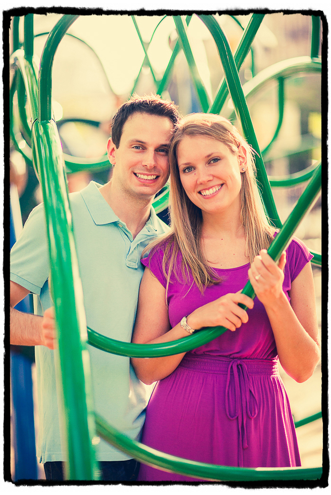 Engagement Portraits: Mike & Melissa at a playground in the West Village.