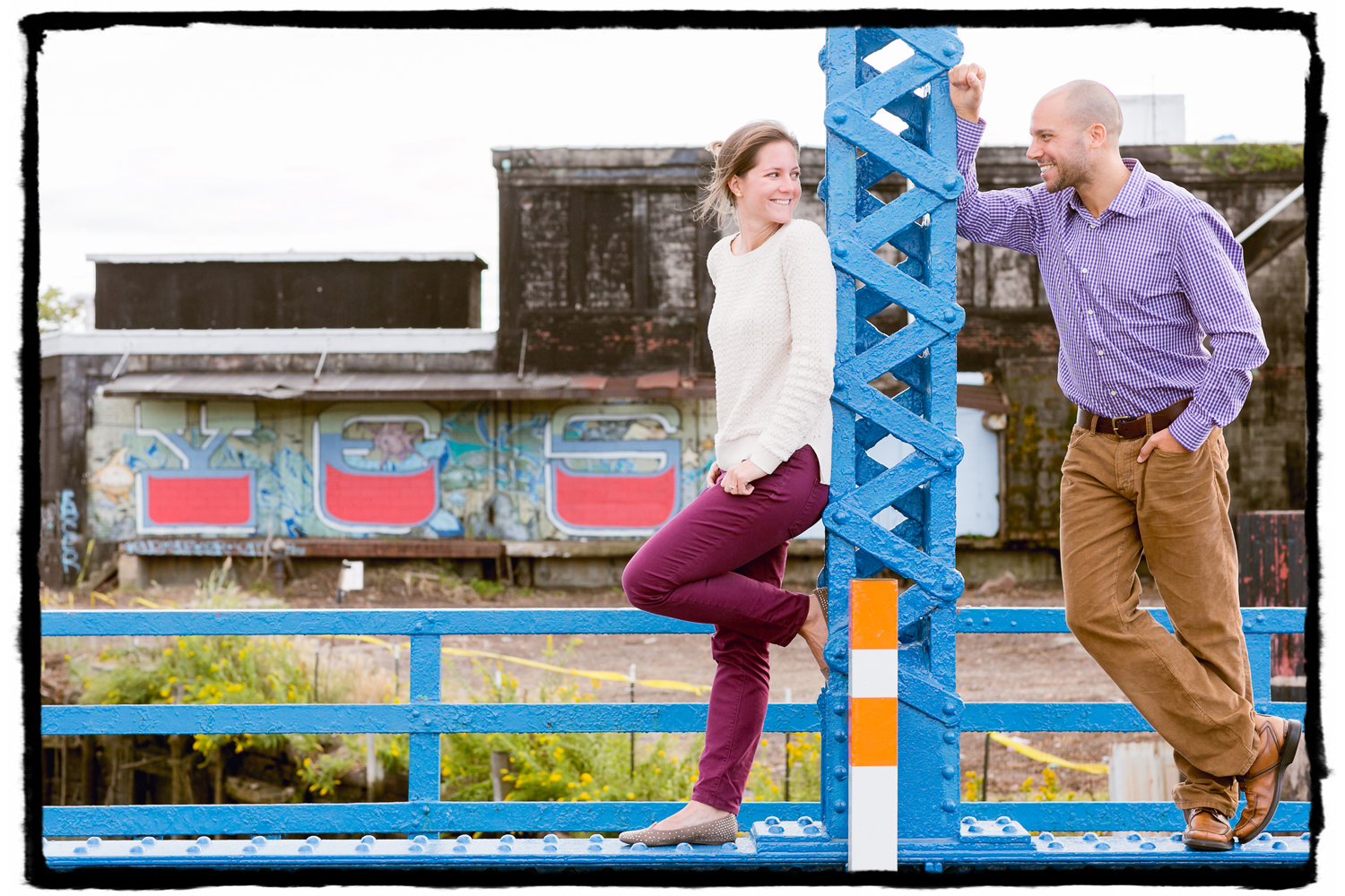Engagement Portraits: Laura & Joel in Red Hook, Brooklyn.