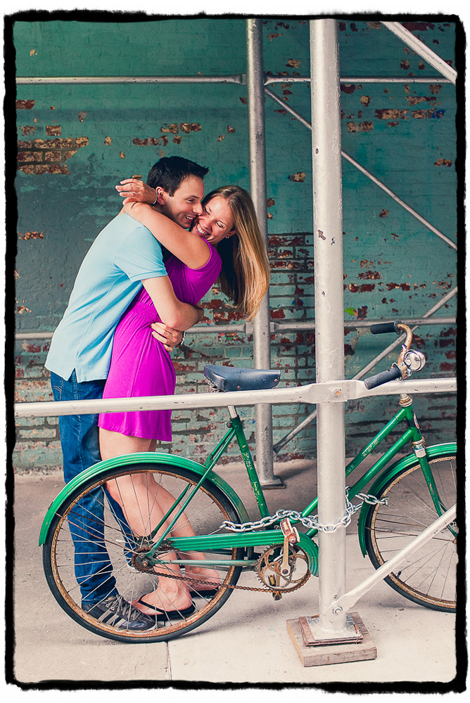 Engagement Portraits: Mike & Melissa have a sweet hug in the streets of New York.