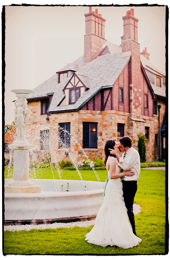Luke and Anna share a romantic kiss after their beautiful outdoor ceremony at The Winthrop Estate in Western Massachussetts.