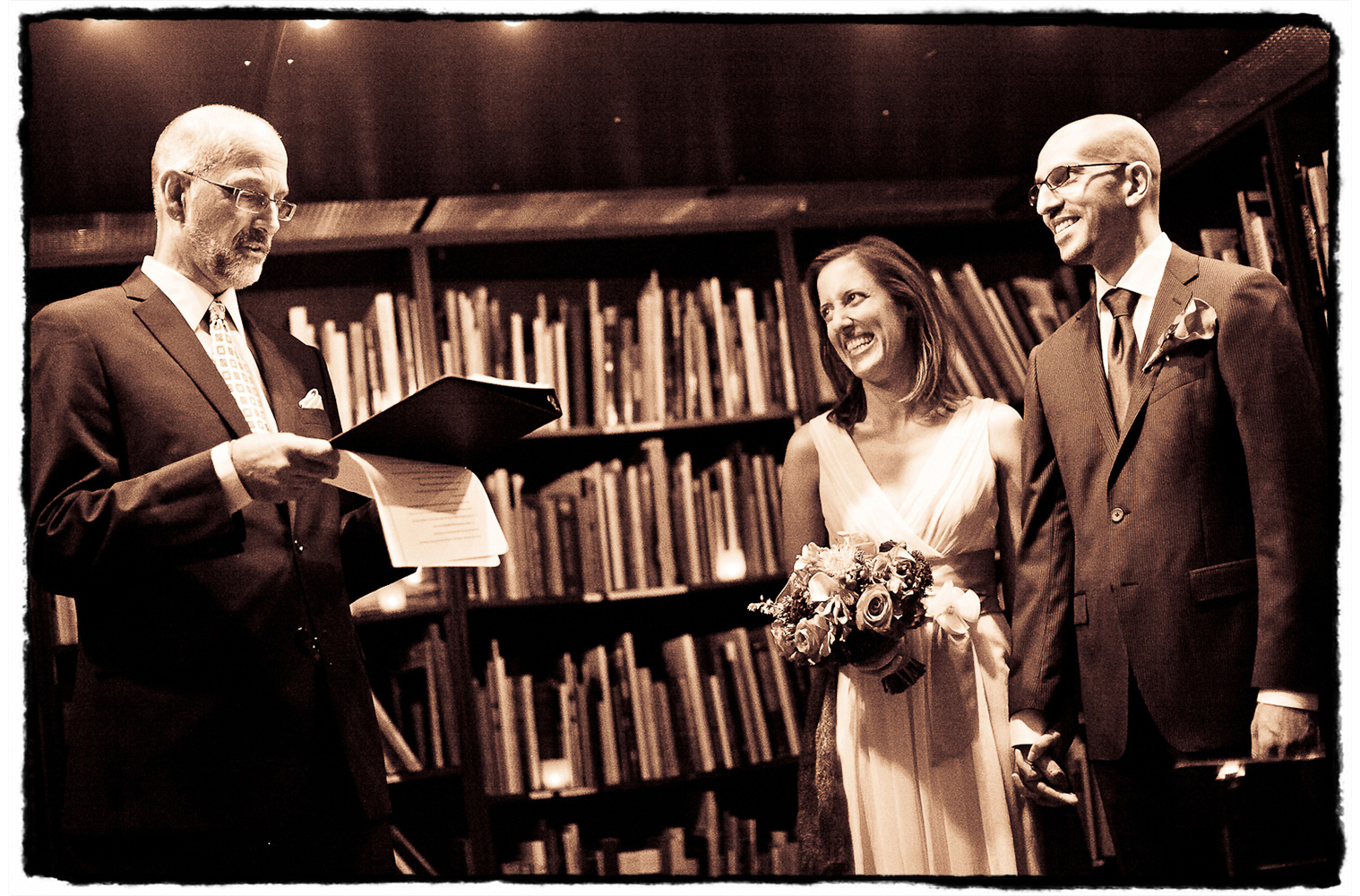 Adam and Shireen were married by a judge in front of a row of lovely bookshelves at The Housing Works Bookstore in SoHo, NYC.