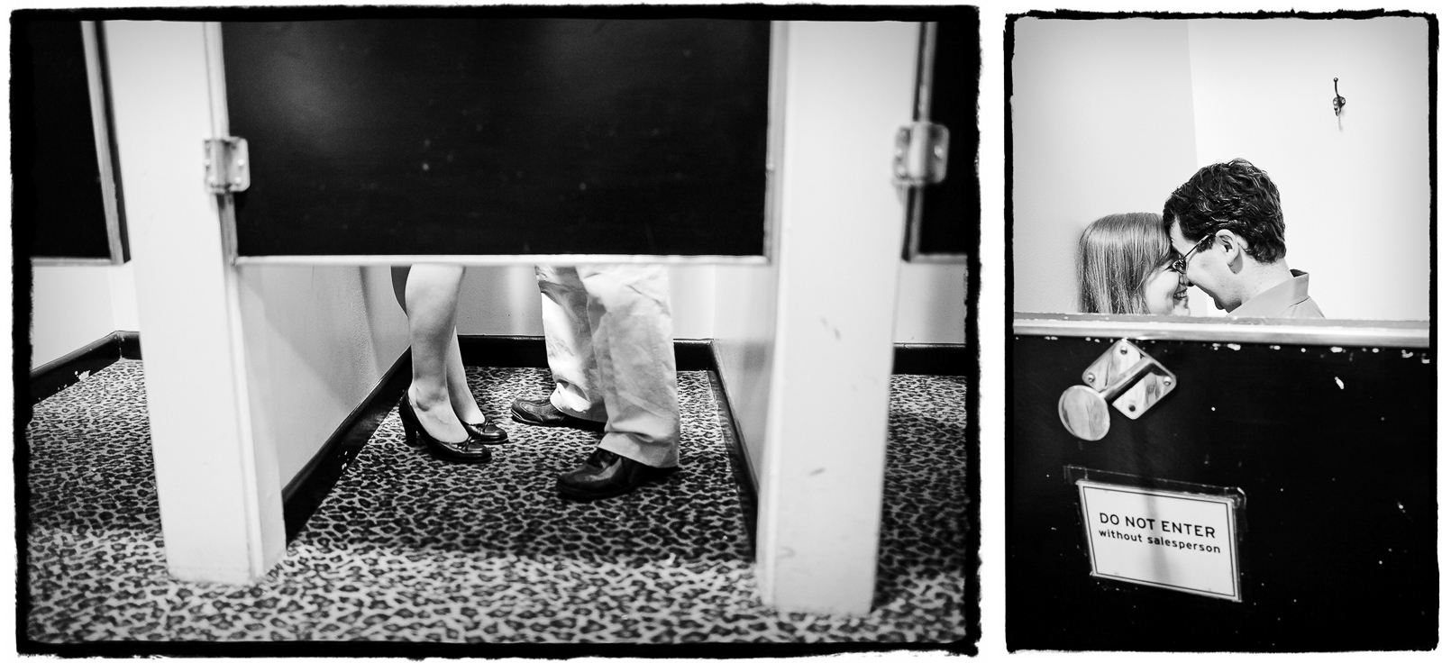 Engagement Portraits: Katie & Jason take a moment alone in the dressing room.