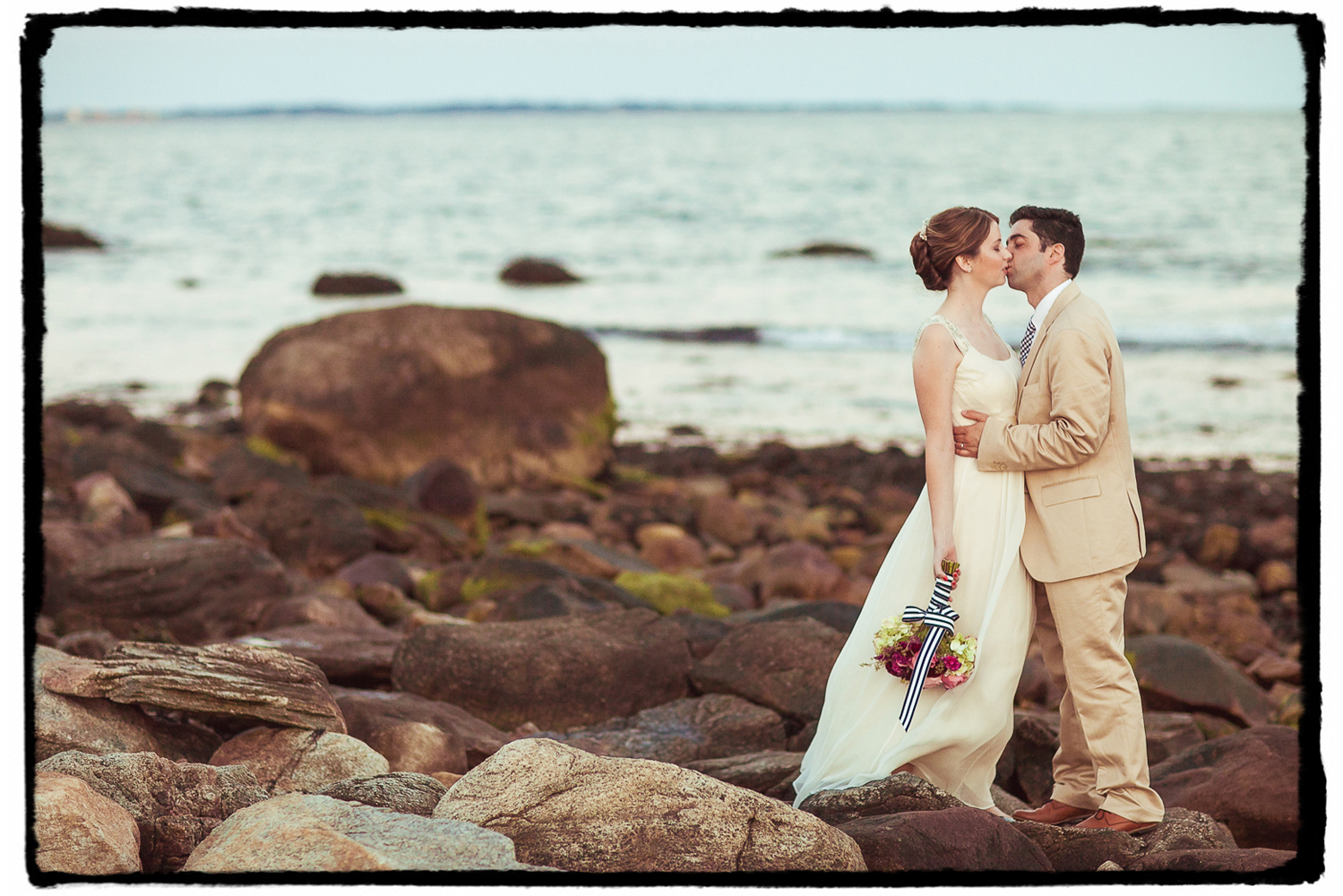 I had to capture Jesse and Jessica with the rocky shoreline at Eolia Mansion at this seaside wedding in Connecticut.