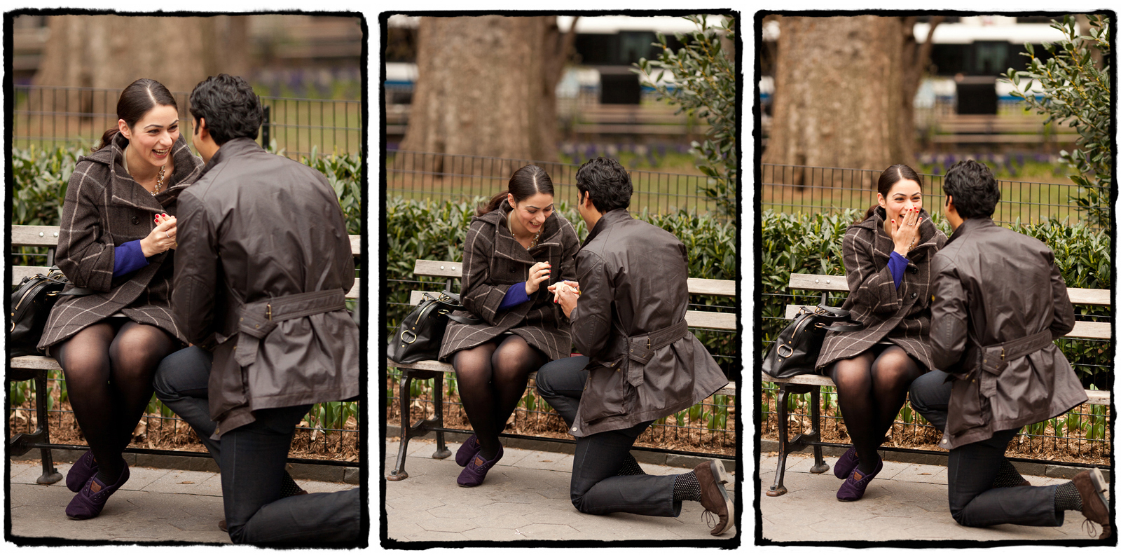 Surprise proposal shot in Madison Square Park in Manhattan