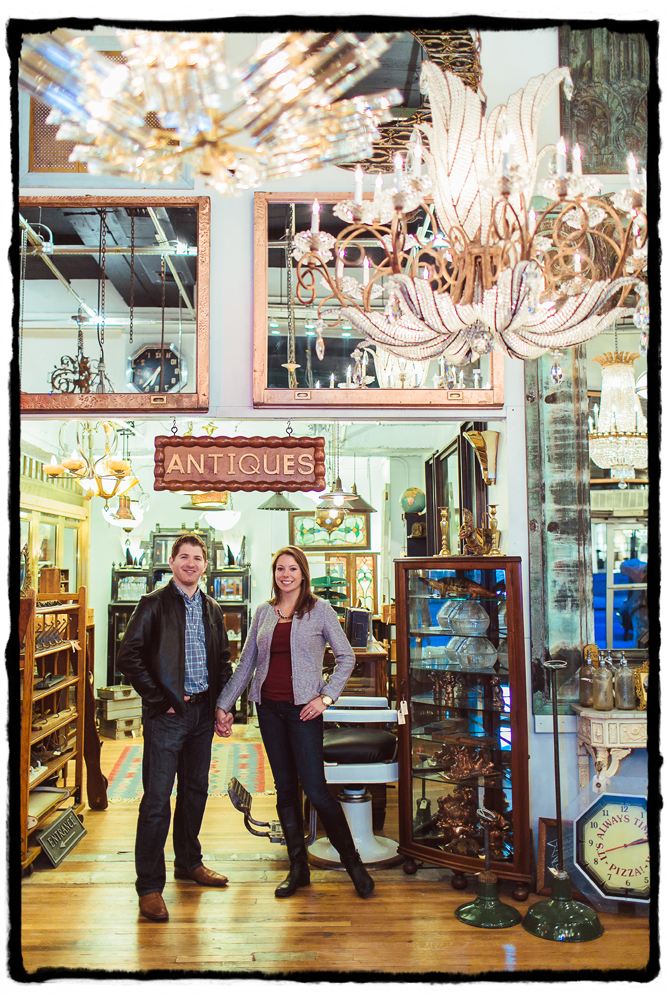 "Engagement Portraits: Meghan & Terence at the Antique Shop ""Olde Good Things"""