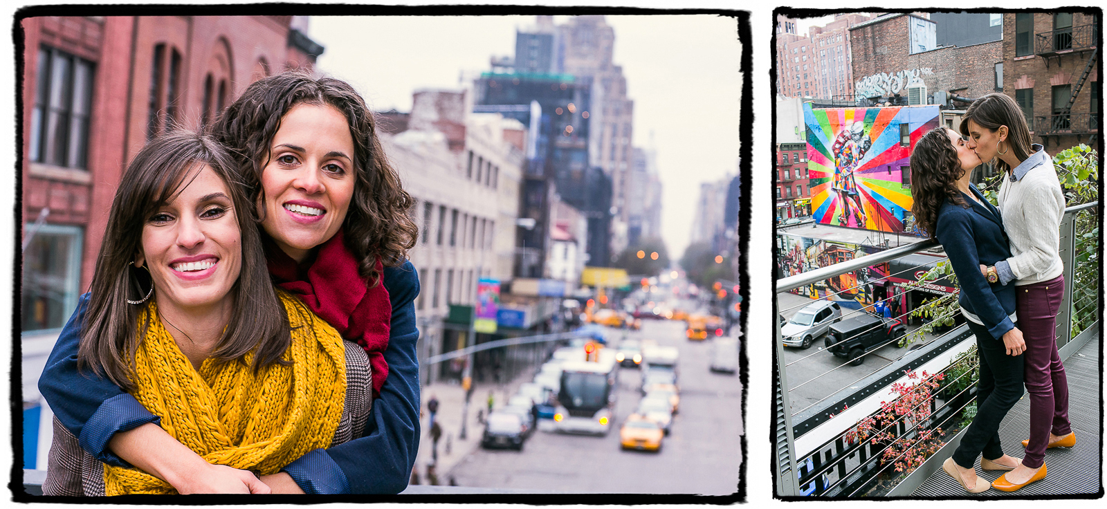 Engagement Portrait: Lara & Nicole enjoyed a crisp fall walk on the High Line.