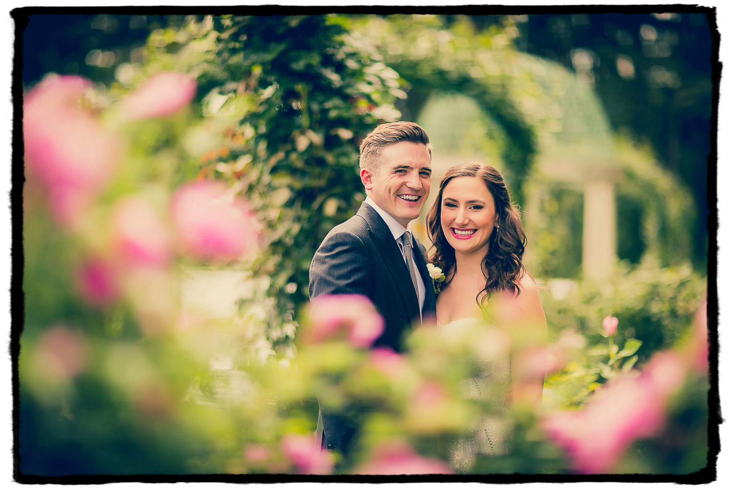 Michelle and Dan were radiant in the rose garden at their Lyndhurst Mansion wedding in Westchester NY.