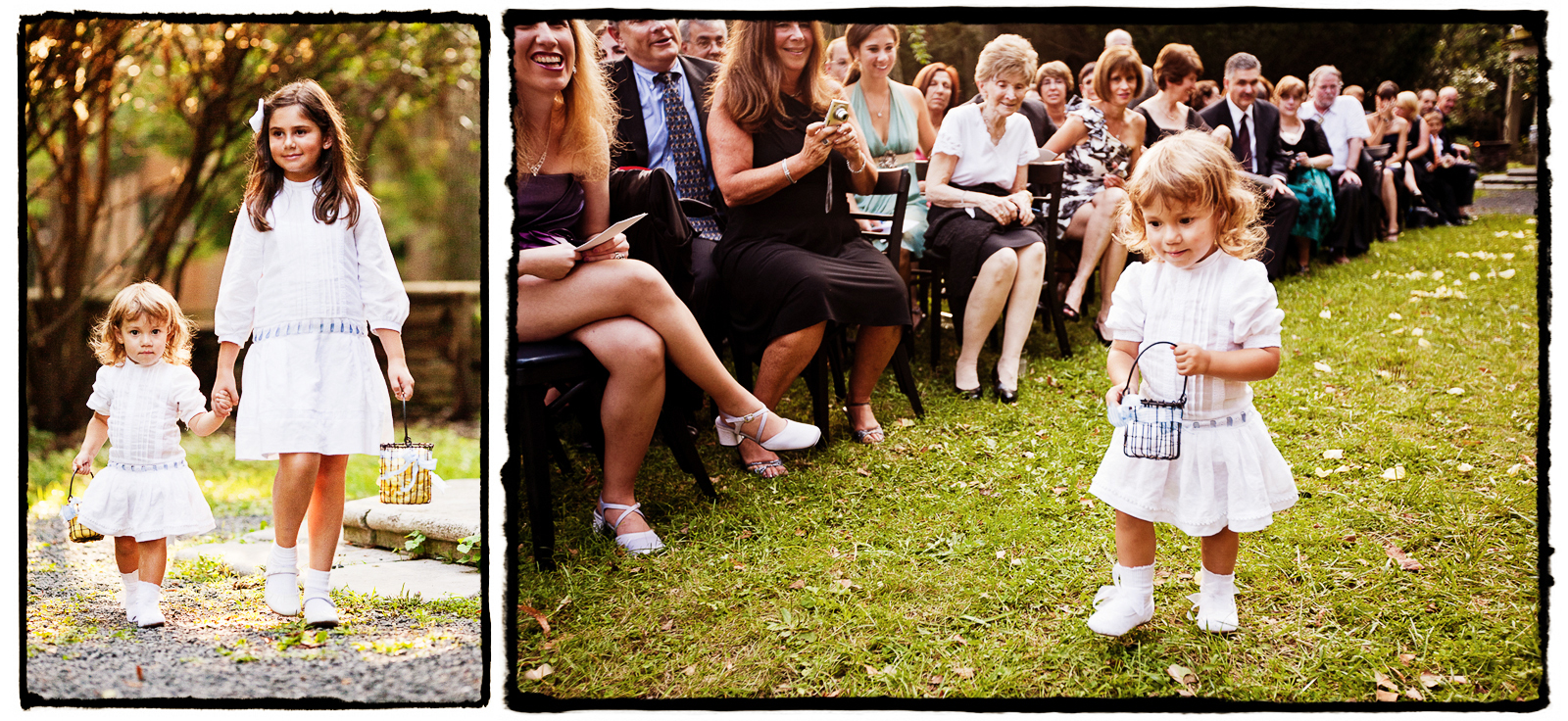 Charming white vintage flowergirl dresses complemented this DIY outdoor wedding.