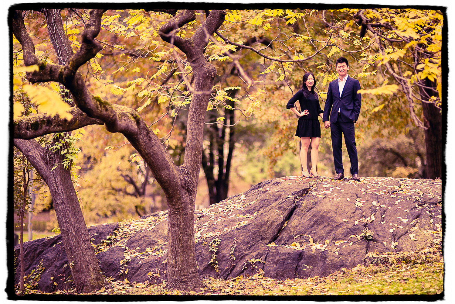 Engagement Portraits: a couple from Singapore traveled to New York City for a destination Engagement shoot in Central Park.