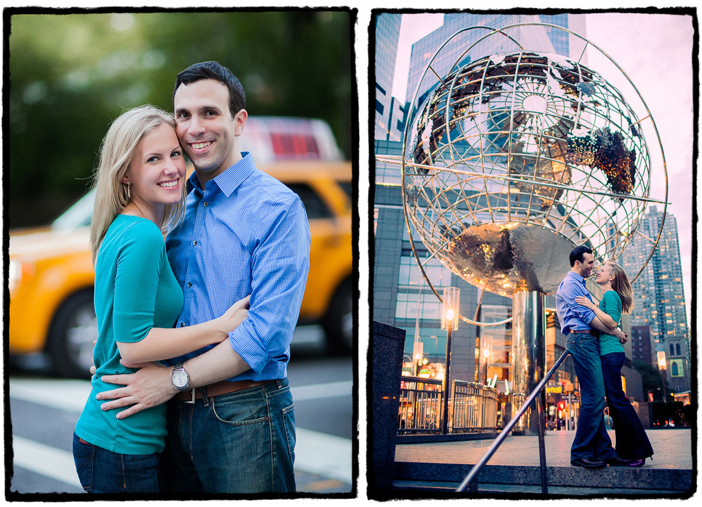 Engagement Portrait: Gena & Josh at Columbus Circle in Manhattan.