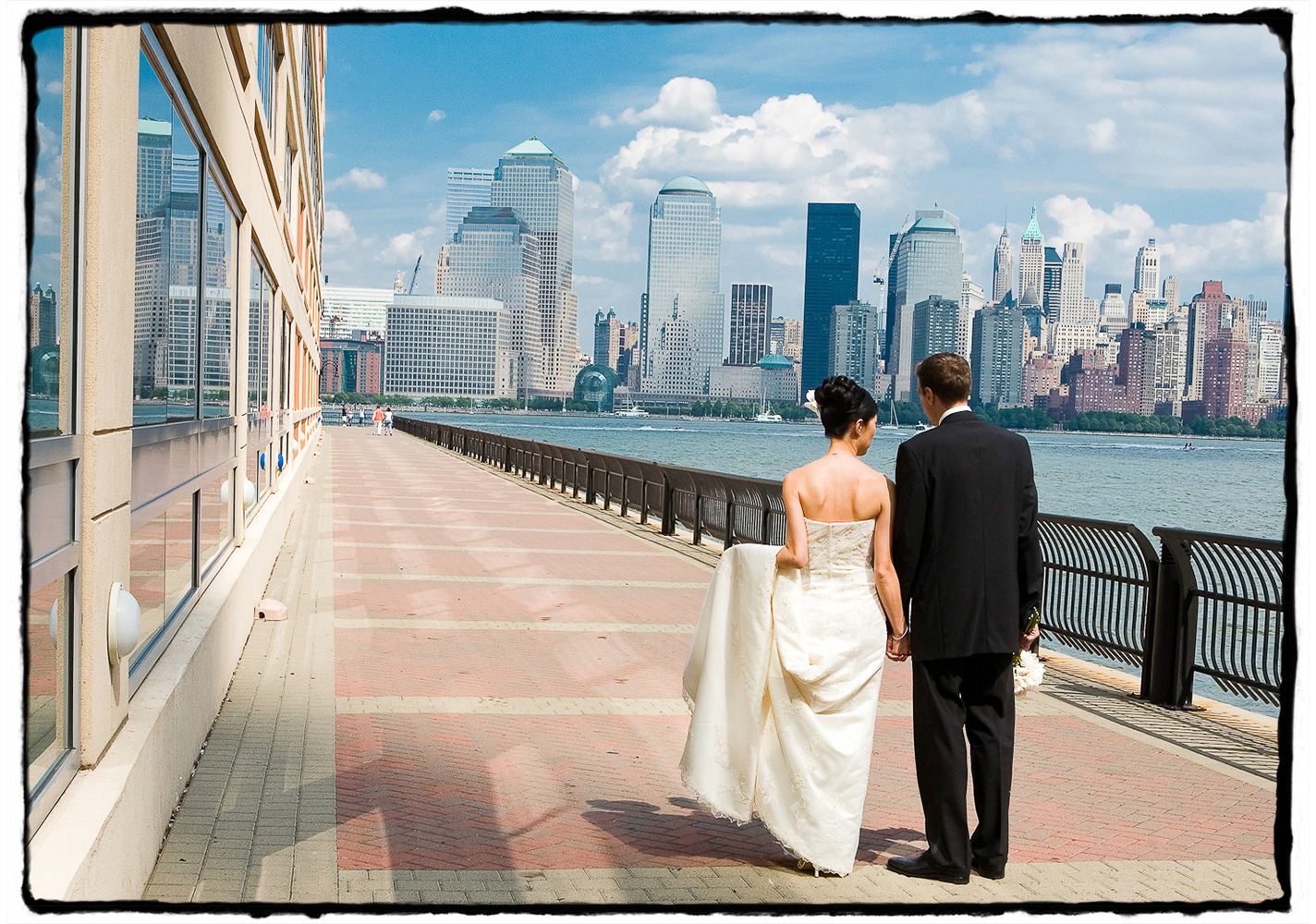 The promenade by the Hyatt in Jersey City offers stunning views of the skyline.