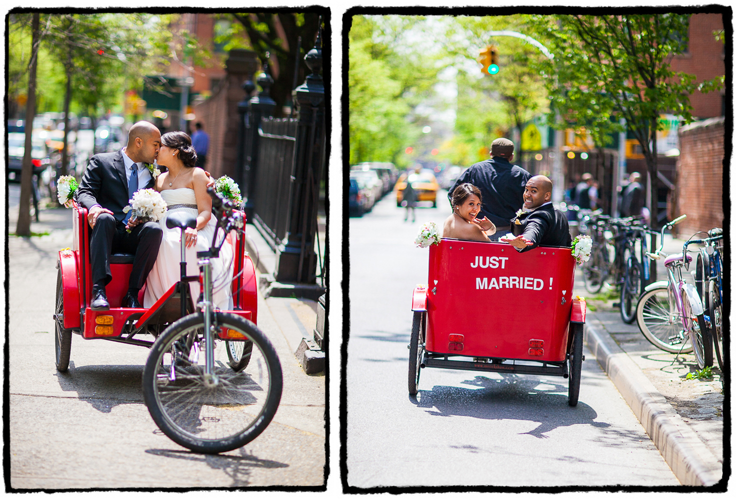Josh and Karen lined up a sweet ride from their church ceremony to the reception in the East Village.