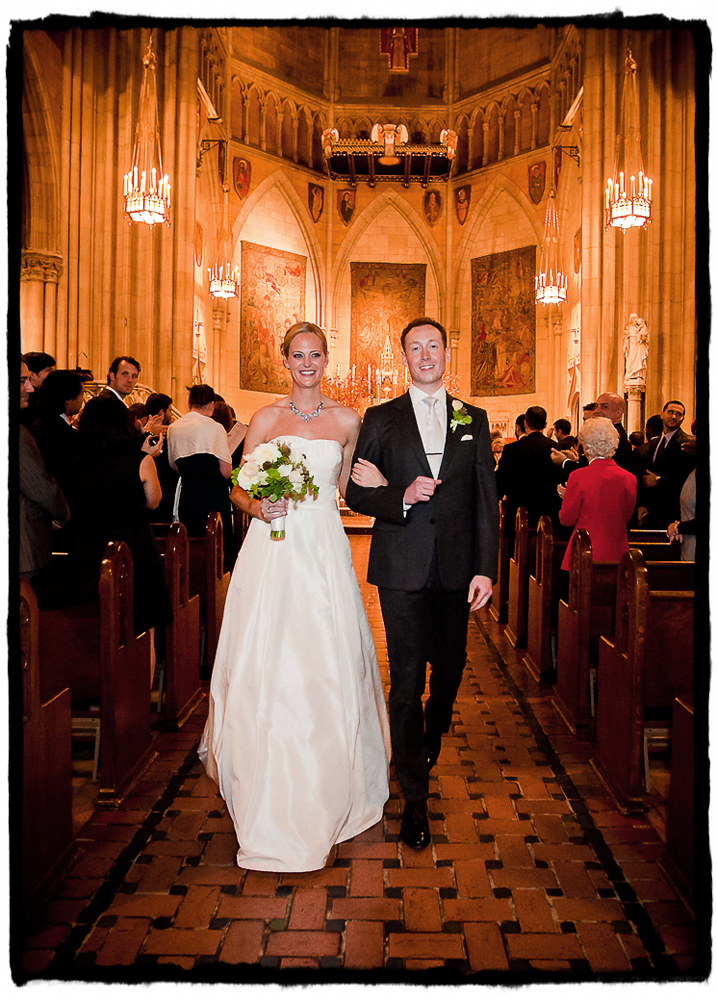 Kate & Charley walk down the aisle after being announced as husband and wife at Blessed Sacrament on the upper west side.
