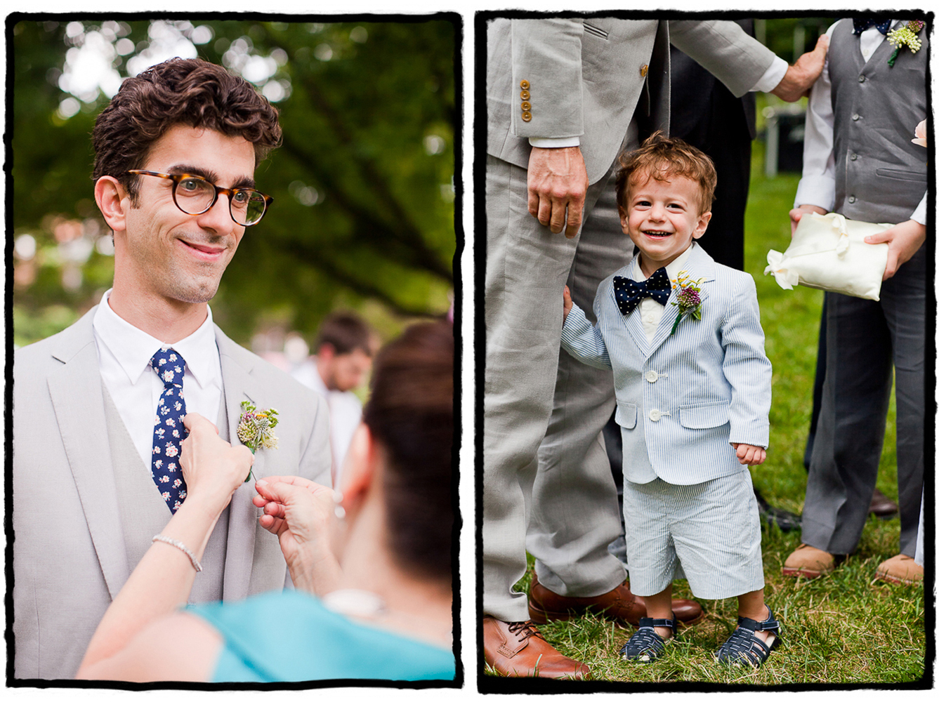 Michael and his ringbearer wore summery light grey suits at this New Jersey wedding featuring vintage and DIY decor.