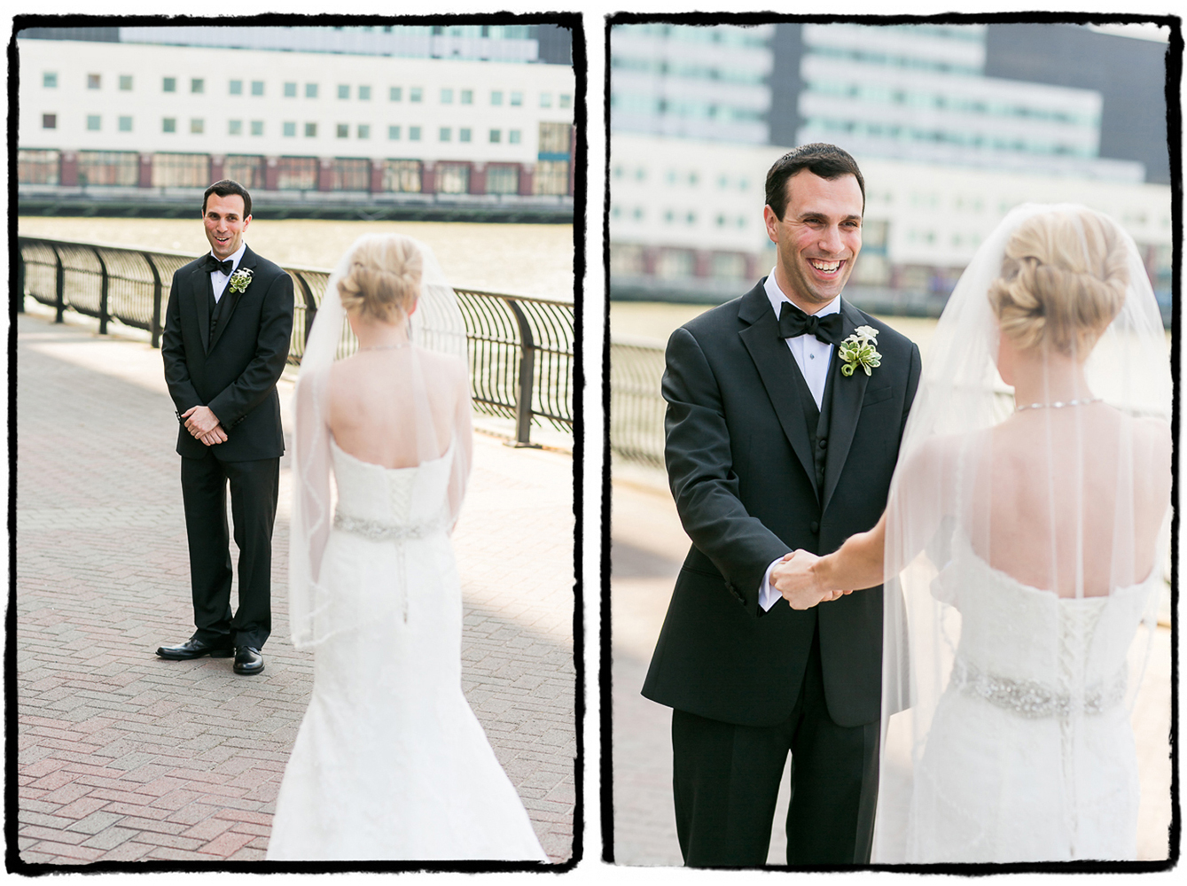 Josh greets his bride by the water at The Hyatt in Jersey City.