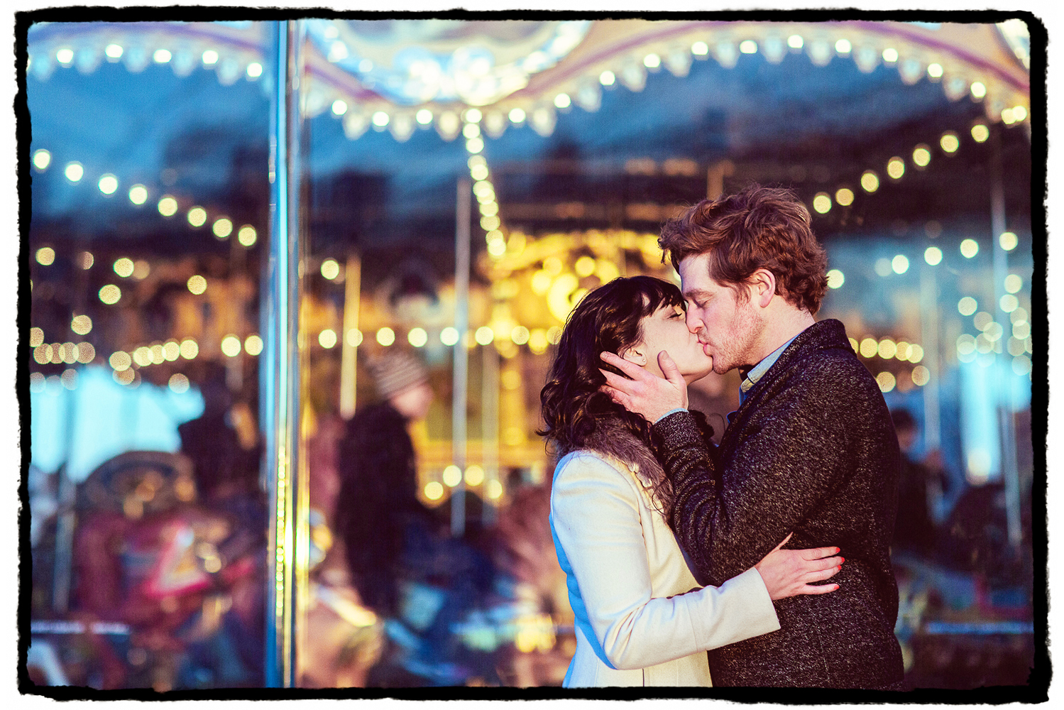 Engagement Portraits: Alli & Parker in front of the carousel at Brooklyn Bridge Park.