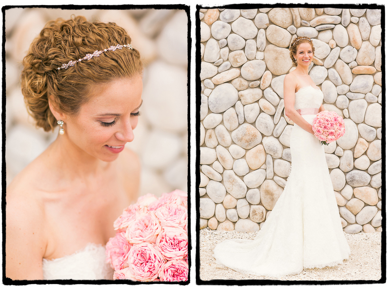 Kelly's soft pink roses were the perfect complement to the light summery vibes at Bonnet Island Estate.