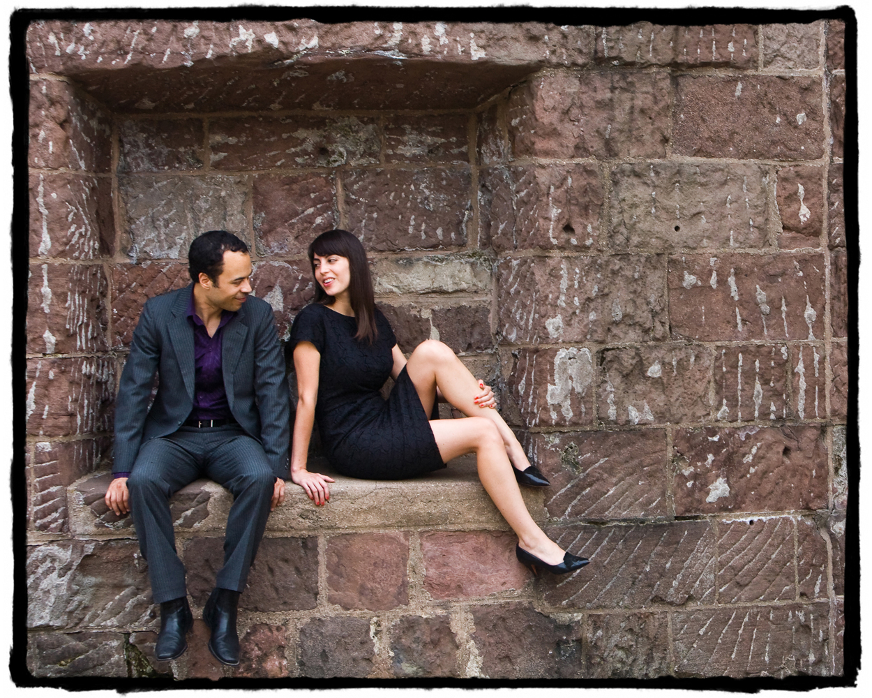 Engagement Portrait: Brad and Sophia pose for a photograph down at Battery Park.