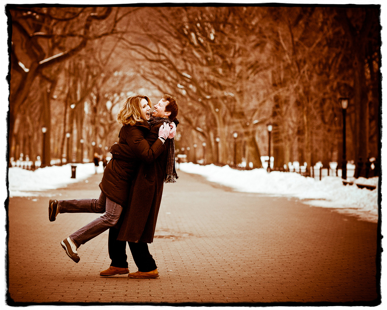 Engagement Portrait:  Liz and Doug had the fresh snow in Central Park all to themselves during this wintry shoot.