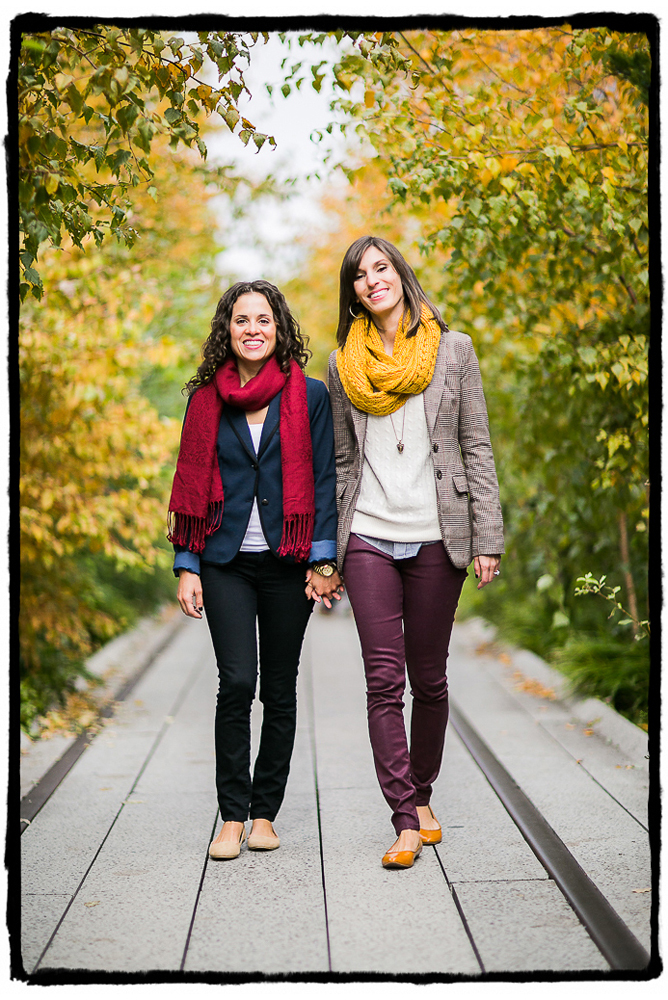 Engagement Portrait: Lara & Nicole enjoy a fall stroll on the High Line.