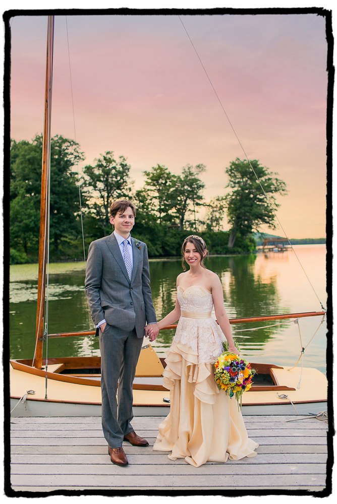 I saw that the sailboat's dek was the same yellow as the bride's silk gown and I knew I had to photograph them with the lake at sunset.