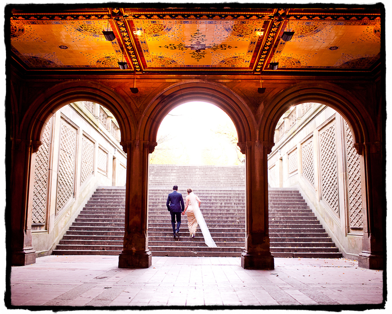 The staircase between the Bethesda Fountain and the Mall at Central Park is a beautiful and iconic spot for a wedding portrait.  I got super lucky with the timing of this mid-afternoon wedding and there was nobody else around when we took this shot.