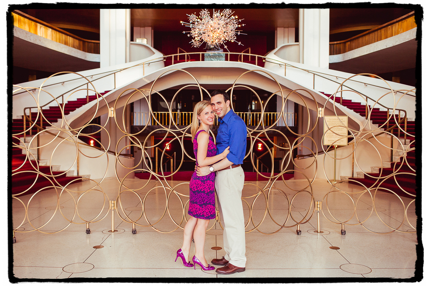 Engagement Portraits: Gena & Josh in the lobby of the Metropolitan Opera at Lincoln Center.