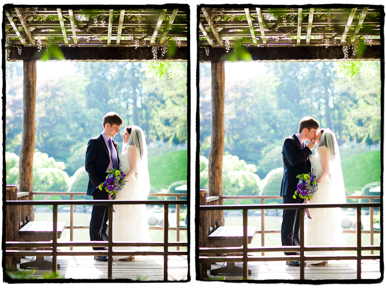 Deena & Joe share a kiss under a pergola at Brooklyn Botanic Garden before heading to the Palm House to celebrate at their reception.
