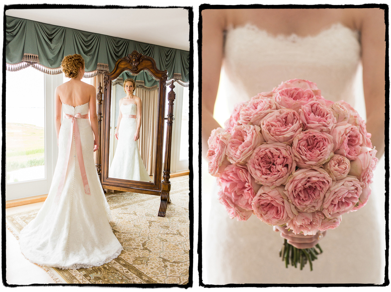 Kelly's pink sash matched her lovely bouquet at Bonnet Island Estate.